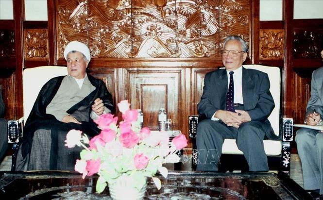 Chủ tịch nước Lê Đức Anh tiếp Tổng thống Cộng hòa Hồi giáo Iran Akbar Hashemi Rafsanjani, chiều 5/10/1995, tại Phủ Chủ tịch. Ảnh: Minh Điền/TTXVN